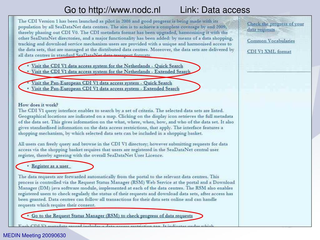 Go to http://www.nodc.nl        Link: Data access