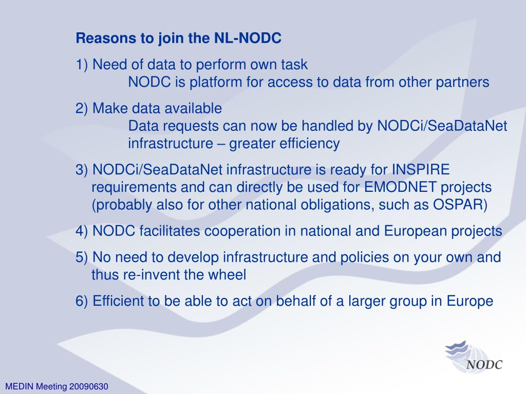 Reasons to join the NL-NODC