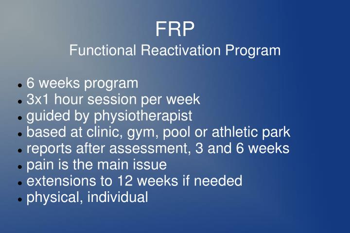 Functional Reactivation Program