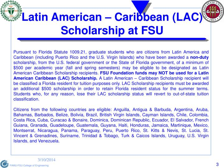 Latin american caribbean lac scholarship at fsu