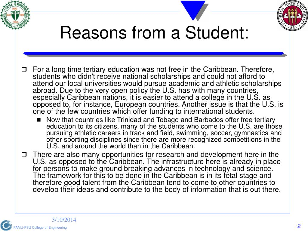 Reasons from a Student: