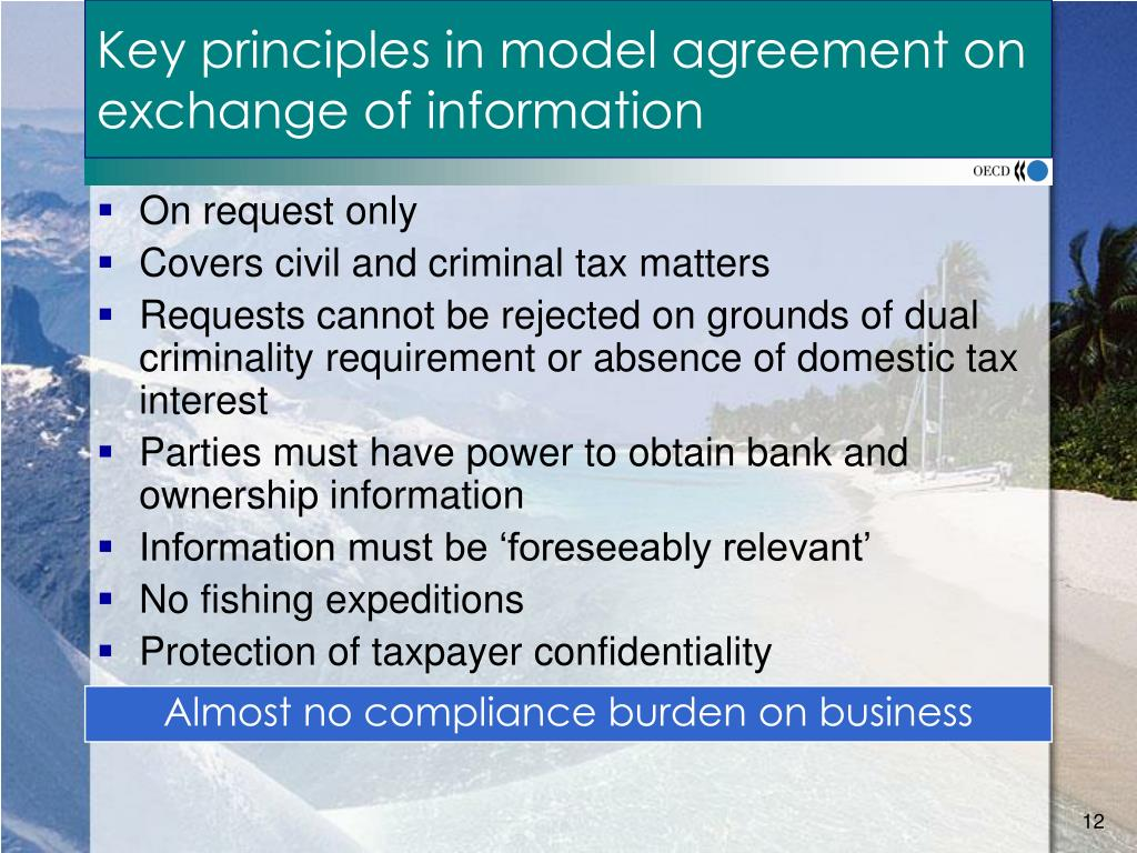Key principles in model agreement on exchange of information