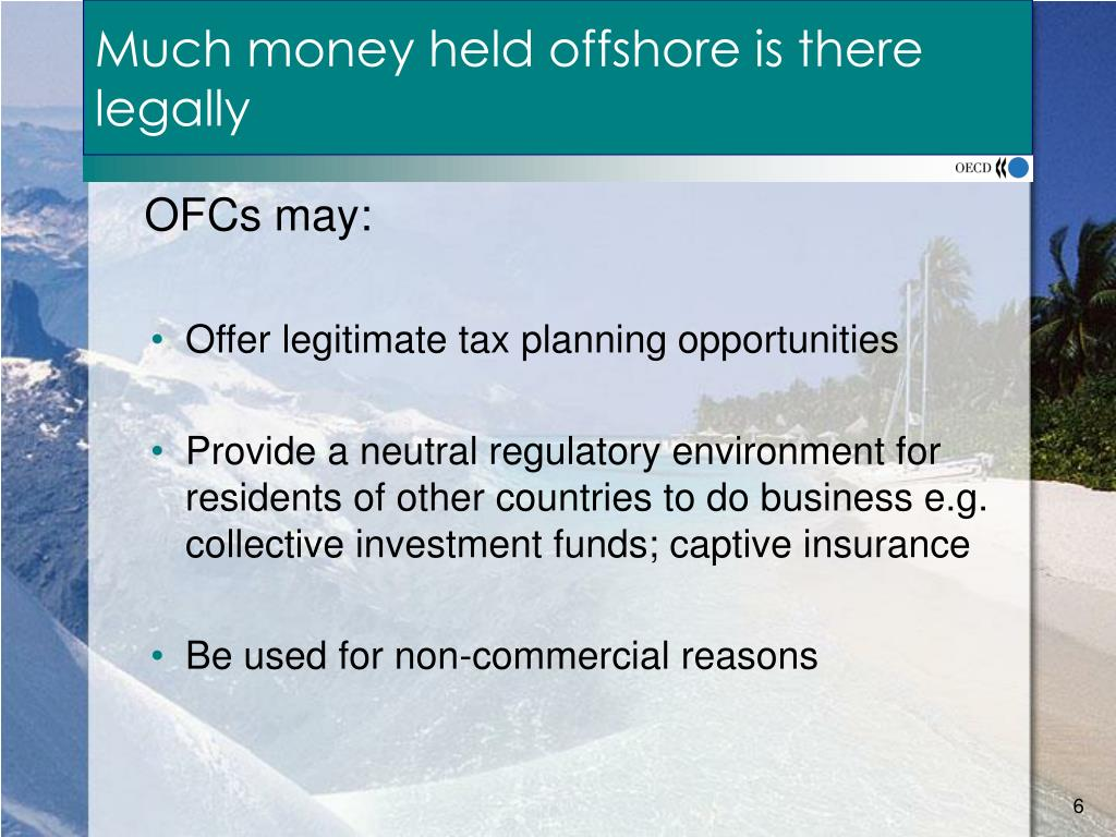 Much money held offshore is there legally