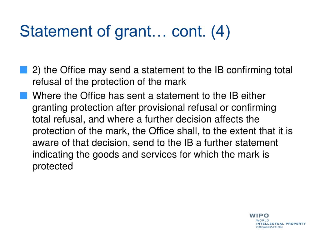 Statement of grant… cont. (4)
