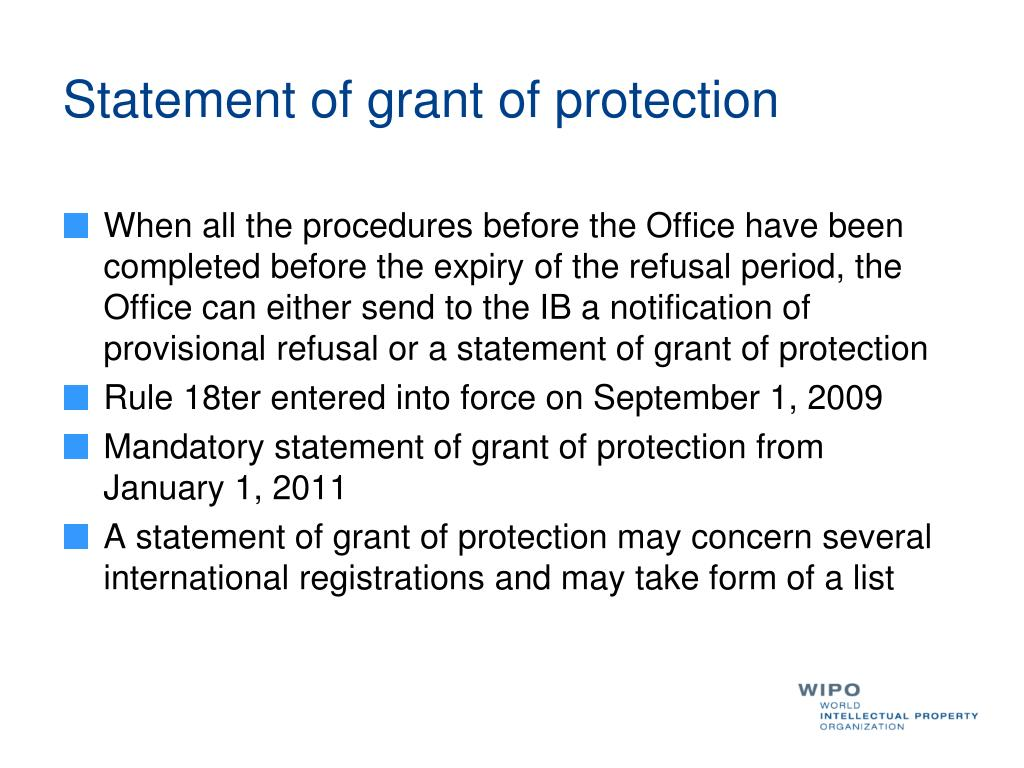 Statement of grant of protection