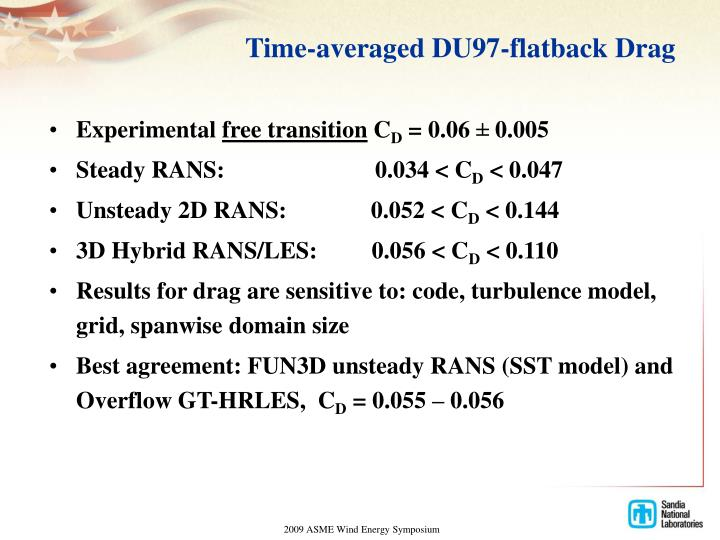Time-averaged DU97-flatback Drag