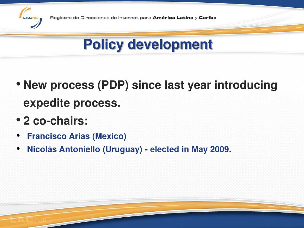 Policy development