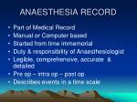 anaesthesia record