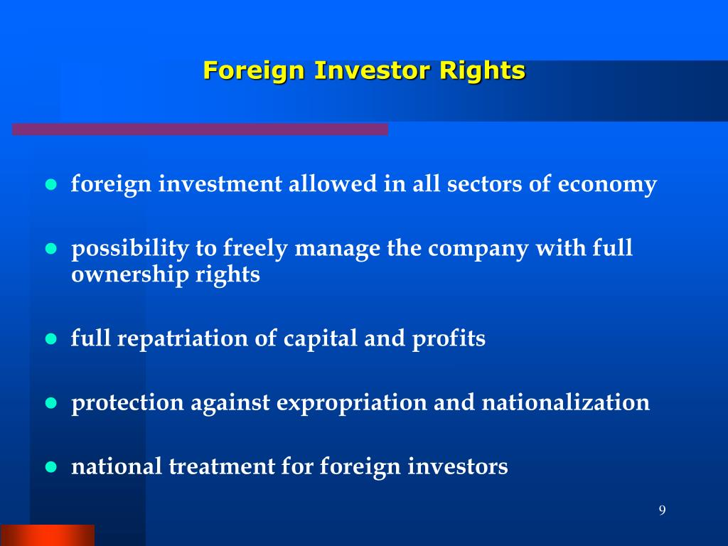 foreign investment allowed in all sectors of economy