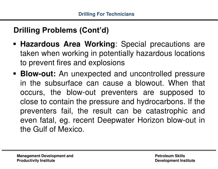 Drilling Problems (Cont'd)