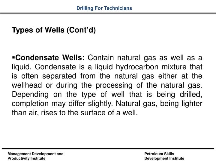 Types of Wells (Cont'd)