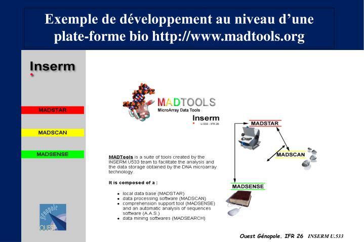 Exemple de développement au niveau d'une plate-forme bio http://www.madtools.org