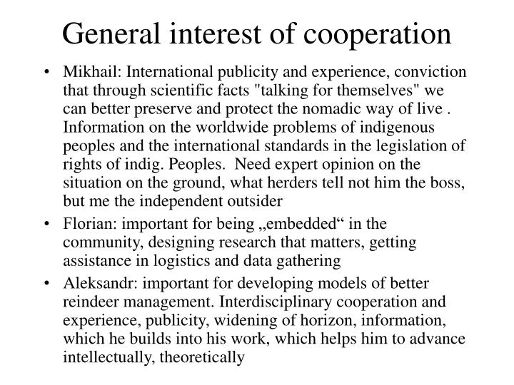 General interest of cooperation