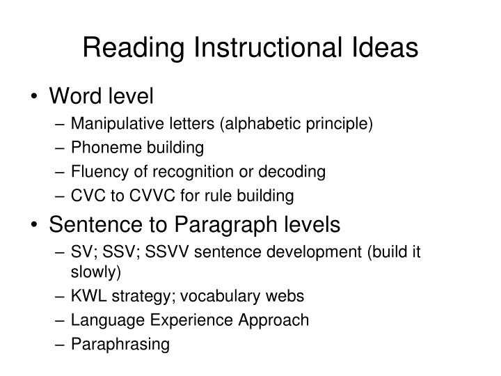 Reading Instructional Ideas
