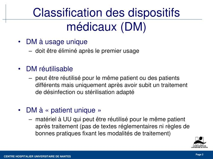Classification des dispositifs m dicaux dm