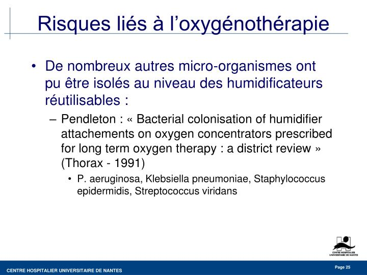 Risques liés à l'oxygénothérapie