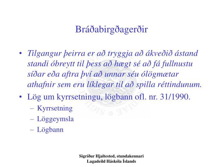 Bráðabirgðagerðir