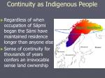 continuity as indigenous people