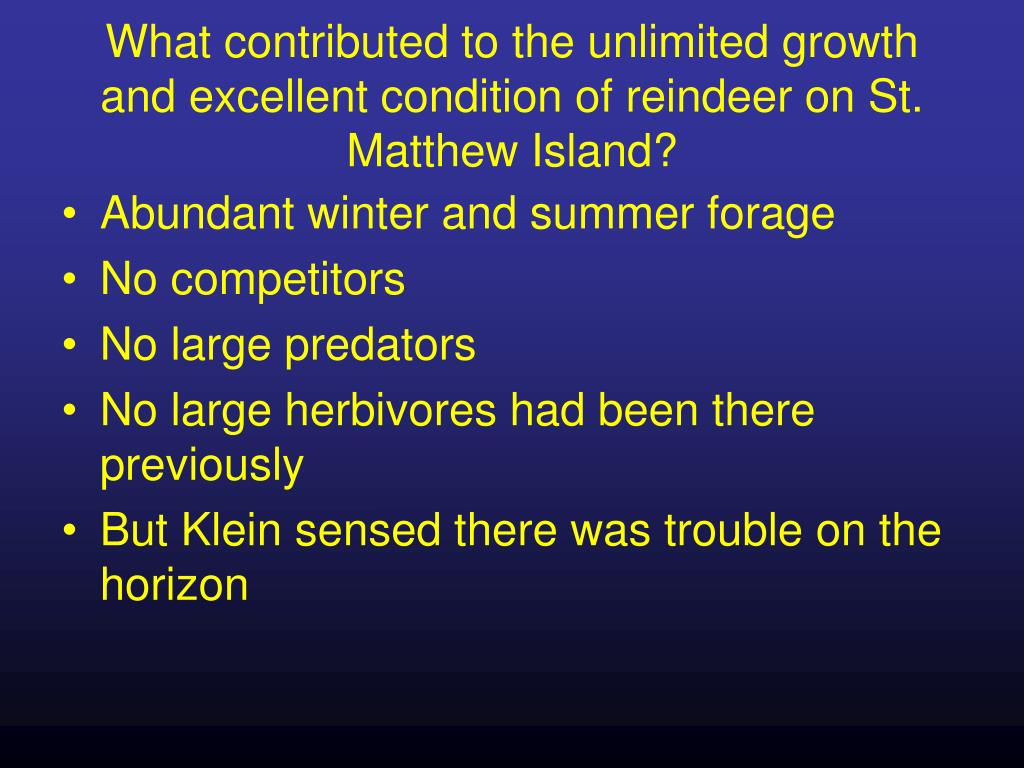 What contributed to the unlimited growth and excellent condition of reindeer on St. Matthew Island?