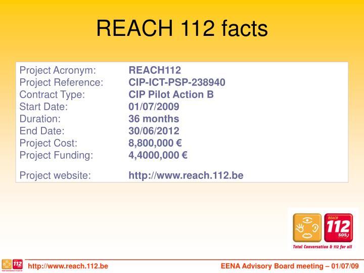 REACH 112 facts