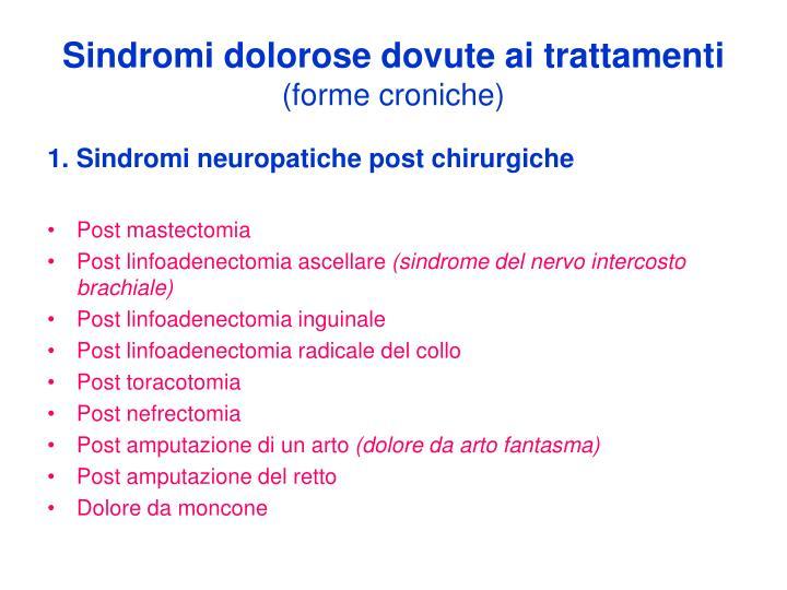Sindromi dolorose dovute ai trattamenti
