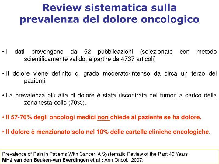 Review sistematica sulla prevalenza del dolore oncologico
