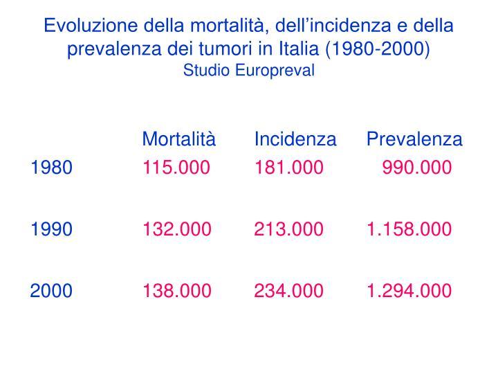 Evoluzione della mortalità, dell'incidenza e della prevalenza dei tumori in Italia (1980-2000)