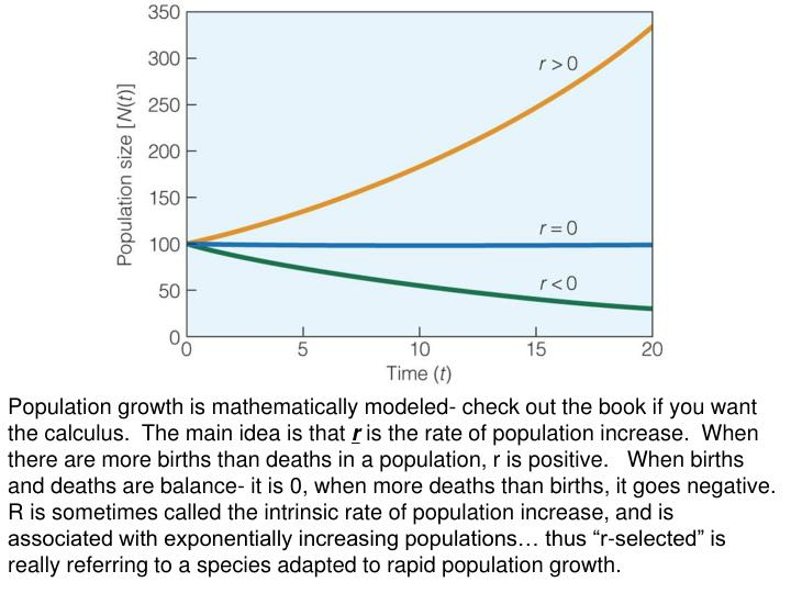 Population growth is mathematically modeled- check out the book if you want the calculus.  The main ...