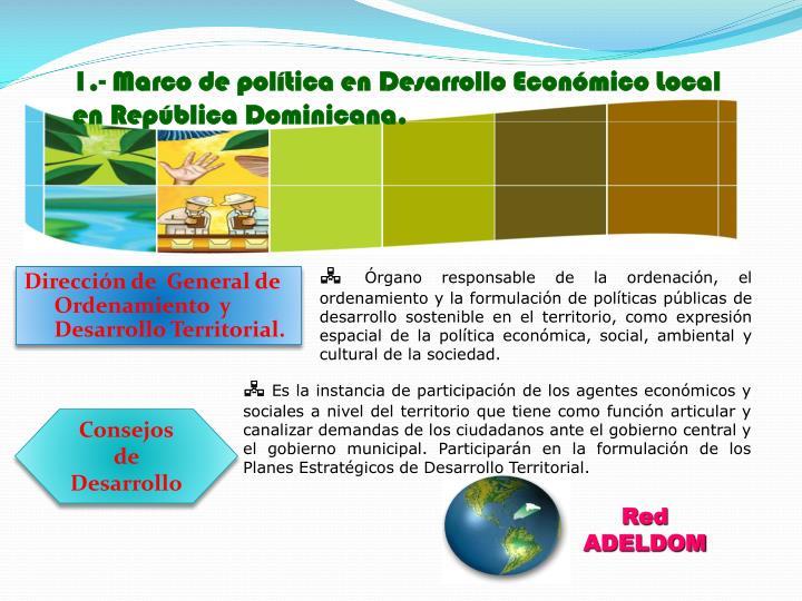 1.- Marco de política en Desarrollo Económico Local en República Dominicana.
