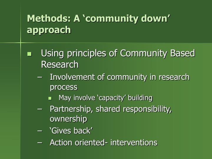 Methods: A 'community down' approach