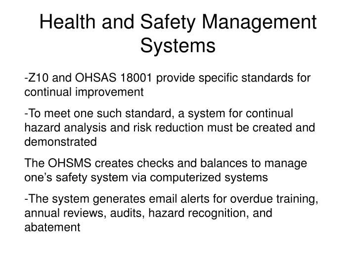 Health and Safety Management Systems