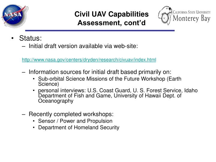 Civil uav capabilities assessment cont d