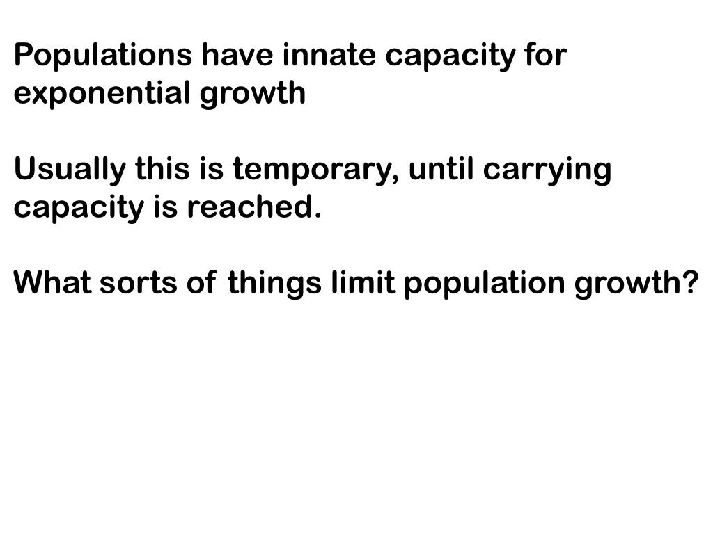 Populations have innate capacity for