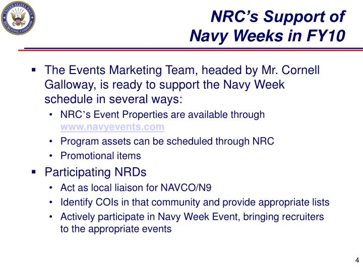 NRC's Support of
