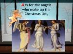 a is for the angels who make up the christmas list