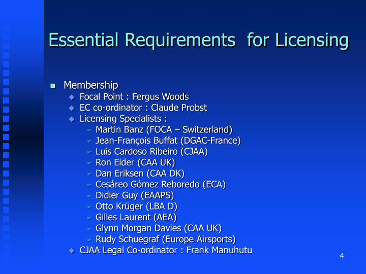 Essential Requirements  for Licensing