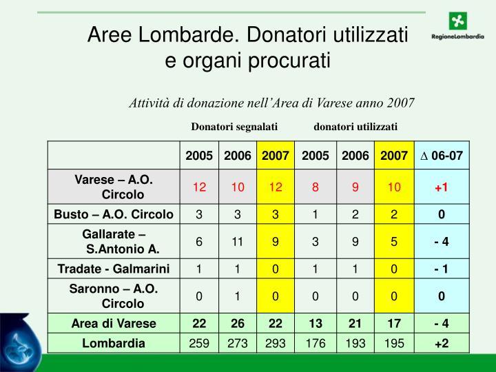 Aree Lombarde. Donatori utilizzati