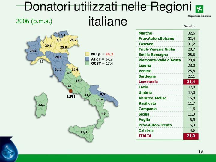 Donatori utilizzati nelle Regioni italiane