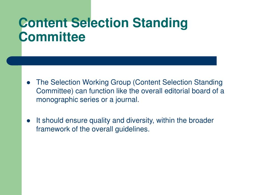 Content Selection Standing