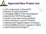 approved new project list