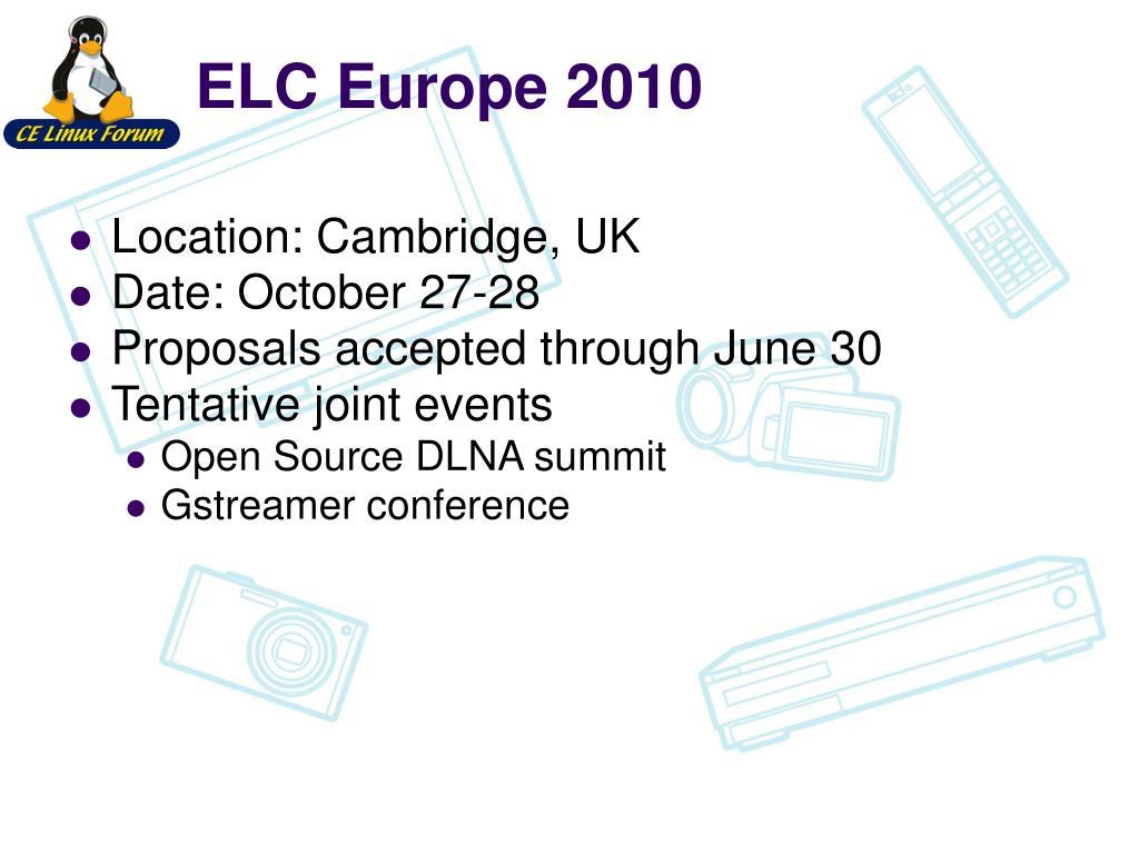 ELC Europe 2010
