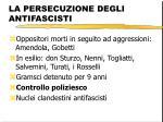 la persecuzione degli antifascisti
