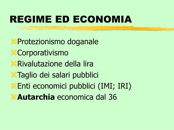 REGIME ED ECONOMIA