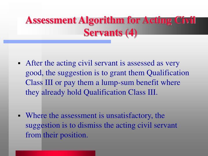 Assessment Algorithm for Acting Civil Servants (4)