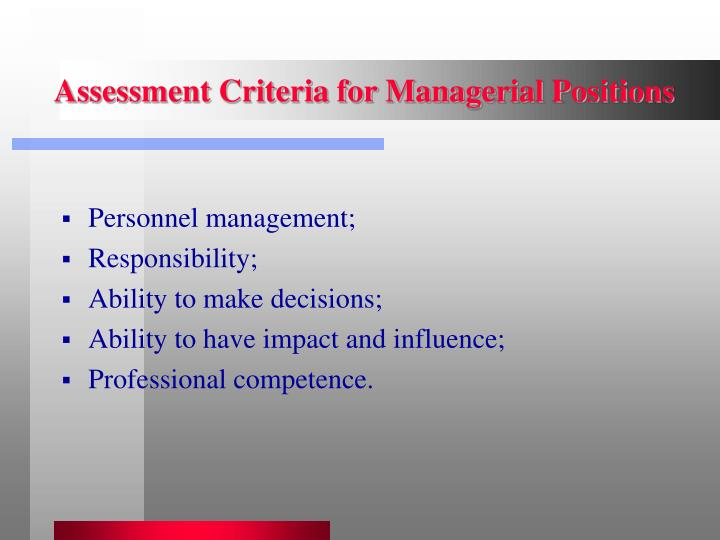 Assessment Criteria for Managerial Positions
