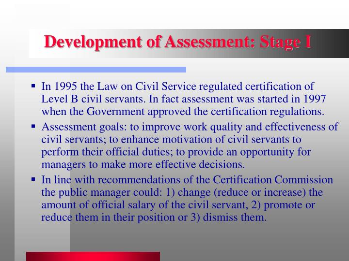 Development of Assessment: Stage I