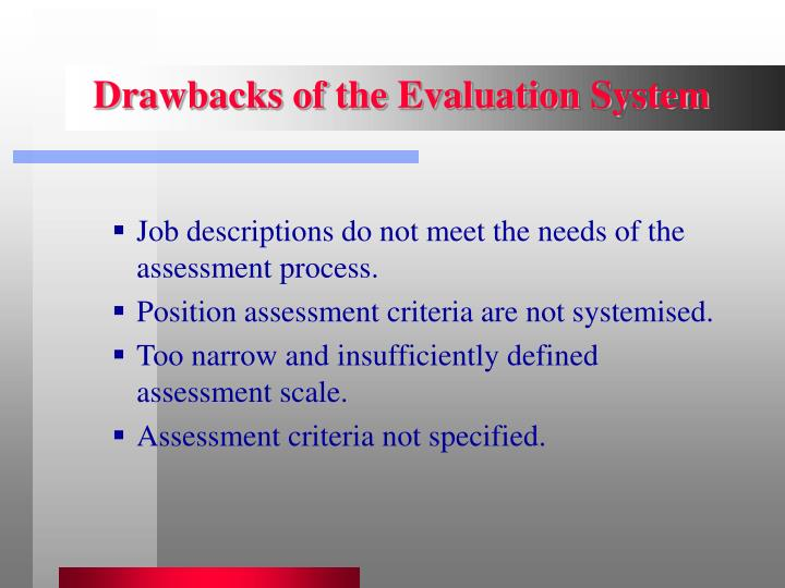 Drawbacks of the Evaluation System