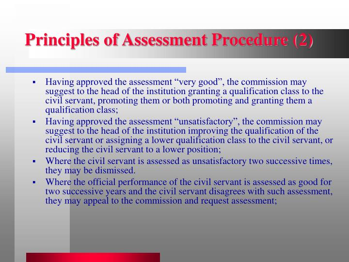 Principles of Assessment Procedure (2)