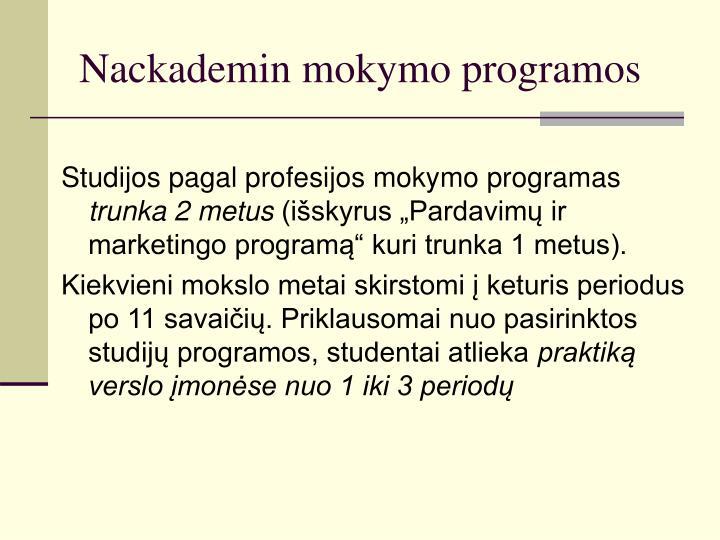 Nackademin mokymo programos