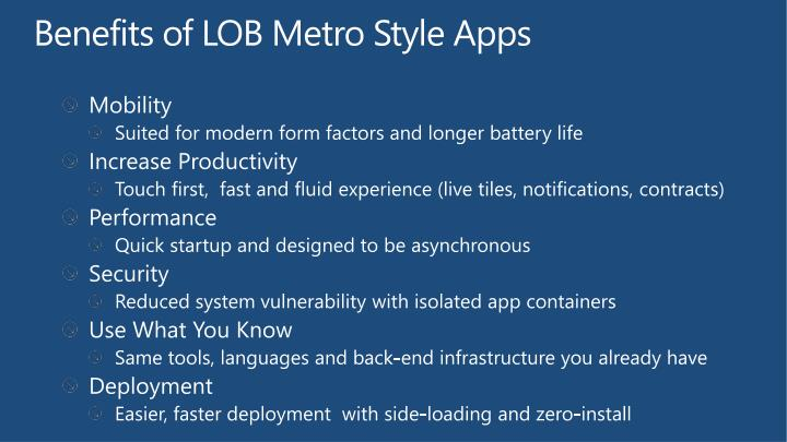 Benefits of LOB Metro Style Apps